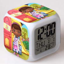 Baby Doc McStuffins Dottie LED Alarm Clock Flash Color Changing Touch Light Funny Toys for Girls