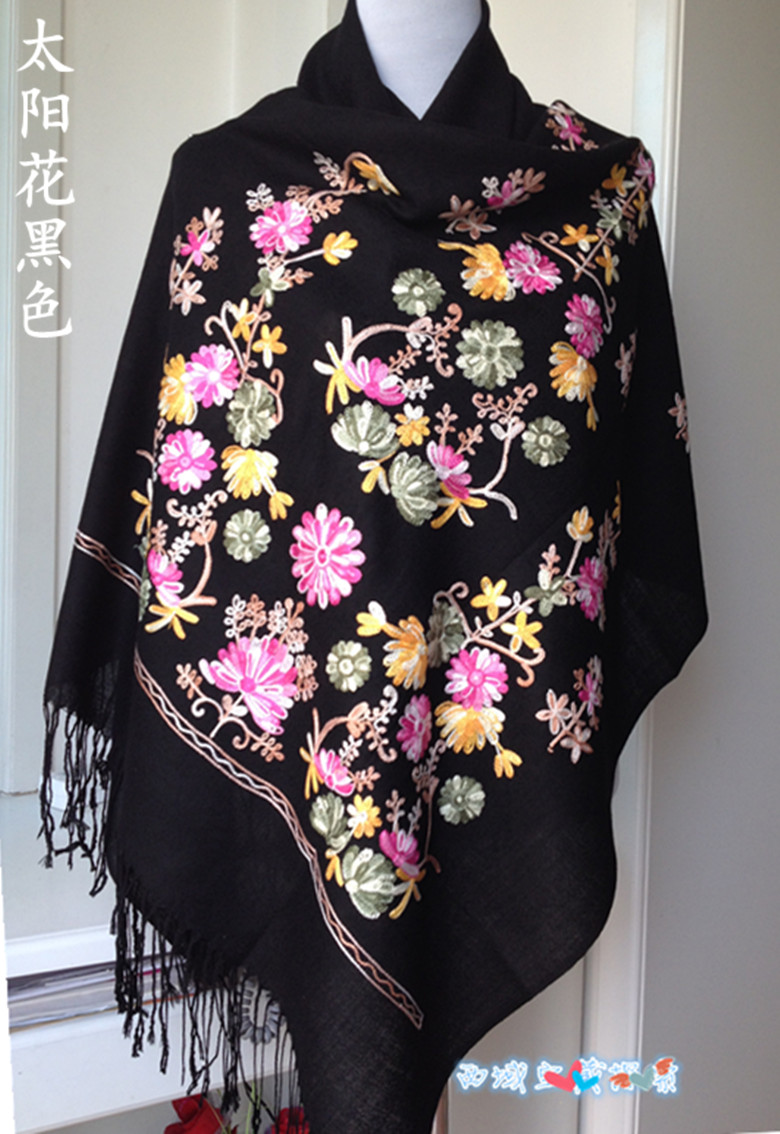 New arrival lady pure wool muffler Unique handmade super large 180cmX70cm scarf embroidered cape embroidery