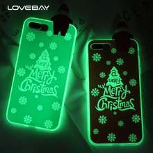 Lovebay Luminous Christmas Tree Phone Case For iPhone 6 6s 7 8 Plus 3D Santa Claus Cases Soft TPU Back Cover For iPhone 6S Plus