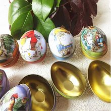 Bunny Chick Printing Alloy Metal Trinket Tin Easter Eggs Shaped Candy Box Tinplate Case Party Decoratio Candy Party Accessory