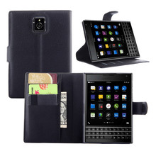 Fashion Litchi Wallet Leather Case For Blackberry Passport Q30 Flip Cover Card Slots and Stand Capas(China)