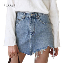2017 New Summer Pencil Denim Skirt High Waist Washed Jeans Women Skirts Irregular Denim Skirts Mini Size Women Bodycon Skirt(China)