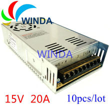 Power supply unit output 15V 20A 300W built-in cooling DC fan security video camera transformer 110V 220V ups 10pcs