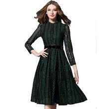 High Quality Hollow Out Patchwork Lace Dress Women Elegant Vintage 2017 Runway Designer Spring Red Greed Big Swing Dresses Y1012