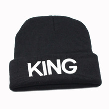 Keep Warm Embroidered 3D Texts KING QUEEN Cuffed Daily Winter Beanies Hats Men Women's Trendy Knit Skull Cap Black White Gold