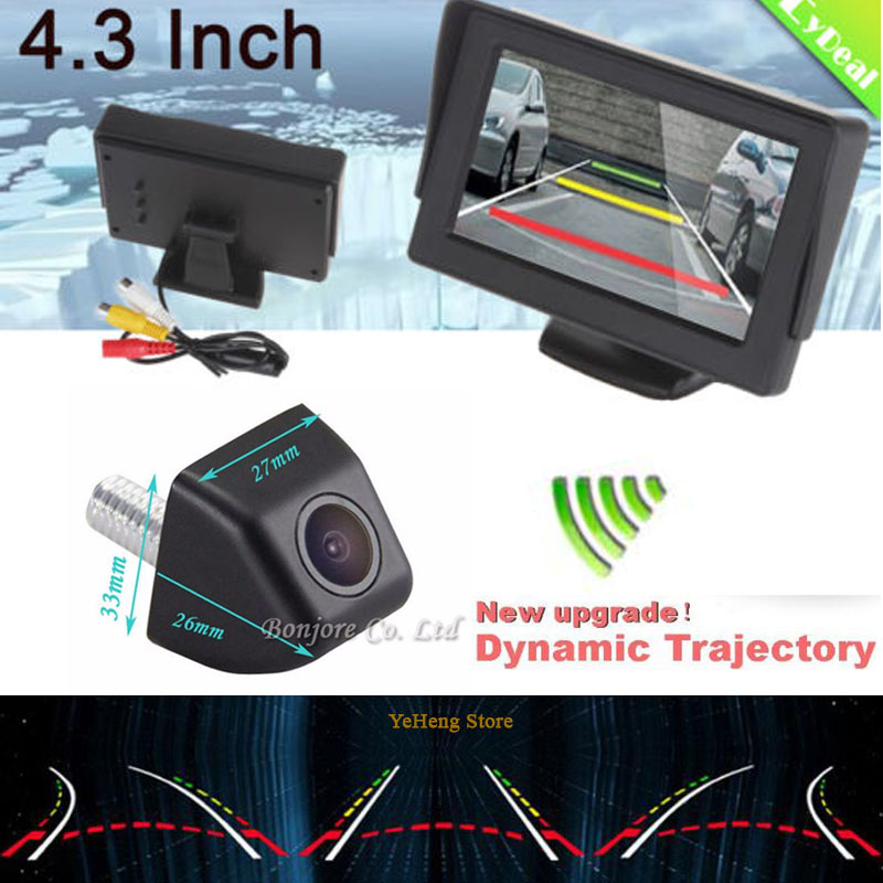 Wireless4.3'' hd Car Monitor & Intelligent Dynamic Trajectory Tracks Rear View Camera CCD Reverse Backup Camera Auto Parking