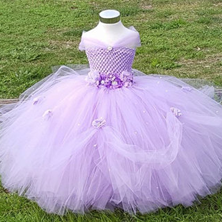 2018 Top quality Pink can take tailing Flower Children Girl Dresses for Wedding V-neck Flowers Ball Gown Evening Dresses 2-8Year<br>