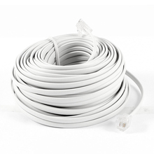 18M 60ft RJ11 6P4C Telephone Extension Cable Connector White(China)