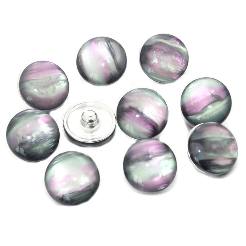 10pcs/lot Mixed 18mm Snaps Alloy Resin Fashion Snaps Buttons Fit Snap Jewelry Snaps Bracelets 021517