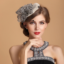Sinamay Ladies Church Feather Pillbox Hat Wedding Bridal Fascinator black ivory navy