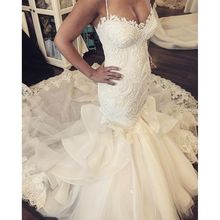 Sexy Mermaid Wedding Dress China Long Tail  Real 2016 French Lace Ruffles Country Western Wedding Dresses Vestidos Novia Robe