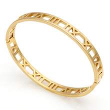 Hot Sell Classic Design 3 Colors Beautiful And Elegant Hollow Roman Numeral Bracelets & Bangles Stainless Steel Bangle For Woman