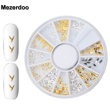 Mezerdoo Glitter Nail Studs Gold Alloy Japanese V-Shape Style 3D Nail Art Decoration Horse Eye Design Accessory  M24