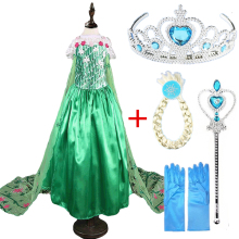 2018 New Girls Dresses Cosplay Elsa Dress Snow Queen Fever Anna Costume Elsa Princess Dress Party Dresses for Children Clothing(China)