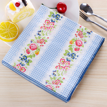 Blue Plaid Flowers Beauty Design Paper Napkins Cafe & Party Tissue Napkins Decoupage Decoration Paper 33cm*33cm 20pcs/pack/lot(China)