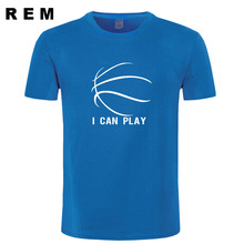 design funny personality Basketball t shirt Fashion Cotton SHORT sleeve Streetwear sports shirts I CAN PALY men's clothing(China)