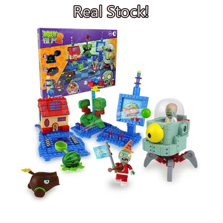 Plants vs Zombies 050301 Future World Building Bricks Blocks anime action figures My world Minecraft Toys for childrenGifts<br>