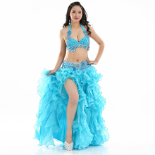 Professional 2016 New Egyptian Belly Dance Outfit Set Beaded Bra B/C Cup Wave Skirt Egypt Women Belly Dance Costumes(China)