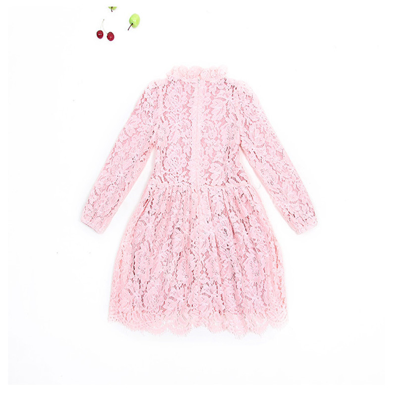 2017 New Fasion Girls Dress Knee-length Pink Colors  Cute Childrens Clothing Princess Lace Dresses<br><br>Aliexpress