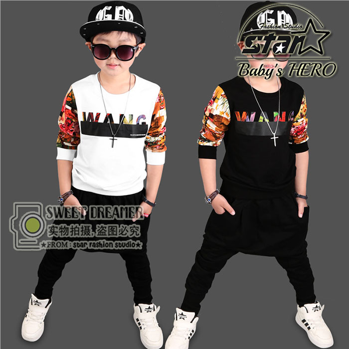 2017 Spring Fall Children Dancing Clothing Set Boys Fashion Patchwork Sport Suit Kid Cotton Long-Sleeve Sportswear Tracksuit <br>
