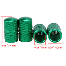4PCS/Set Green Aluminium Car Tyre Wheel Stem Air Valve Caps Auto Truck Bike Motorcycle Dust Dustproof Caps