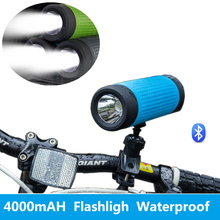 New Cycling Sports 4000mAH 3W Wireless Bluetooth Speaker With LED Flashlight Waterproof Speaker For Phones Mountain Bike(China)