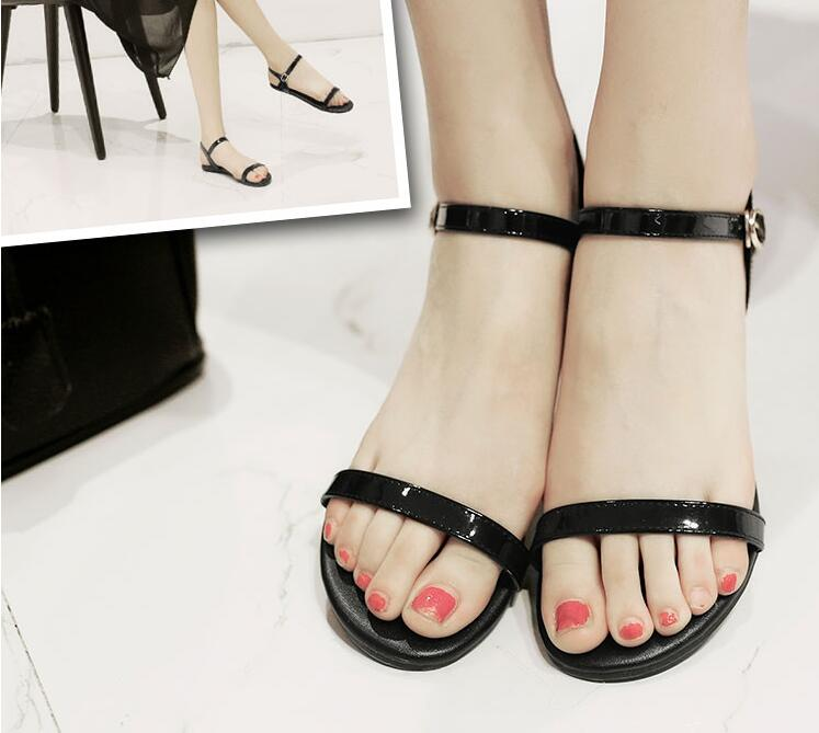 New female sandals European fashion 2017 simple Buckle flat sandals Patent Leather women with flat sandals <br><br>Aliexpress