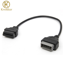 KWOKKER OBD2 40cm OBD Cable For Nissan 14 Pin Male To 16 Pin Female OBD2 OBDII Diagnostic Tool Adapter Extension Connector Cable