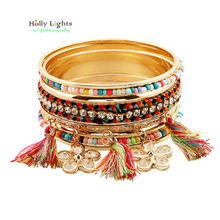 2016 women new multicolor fringes bracelet&bangles crystal flower arm cuff big Gold-color tirbal ethnic bangle tassel pulseiras