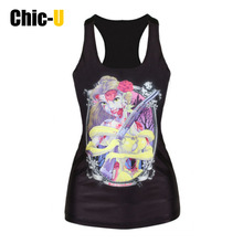 Chic-U Hot! Blood Snow White With The Axe Printed Black Tank Tops Fitness Women Fashion Elastic Vest Harajuku Punk Camisole
