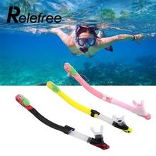 Relefree Adult Full Dry Diving Snorkeling Scuba Equipment Silicone Snorkel Breathing Tube