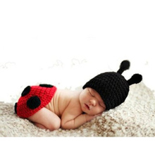 Infant Animal Crochet Soft Hand Knitted Wool Beetle Photography Props One Hundred Days Baby Clothes Newborn Baby Wild Pictures(China)