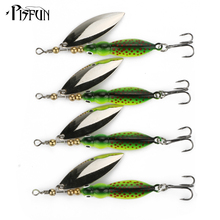 Pisfun 4pcs 8.5cm/14.9g Mepps Spinner Bait Fishing Lure Metal Willow Sequin Artificial Bait