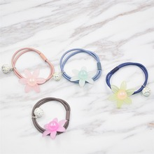 4 Pcs/lot  Floral Hair Tie Kids and Girls Elastic Hair Accessories Crystal Beads  Ponytail Holder Fashion handmade