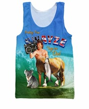 Fashion Women Tee Swayze Tank Top Patrick Swayze centaur riding a surfboard with a koala boombox print Men Vest Jersey tops(China)