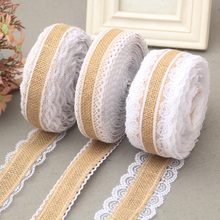 5M Natural Jute Burlap rolls Hessian Lace Ribbon Roll  white lace trim Edge rustic wedding vintage wedding party decoration
