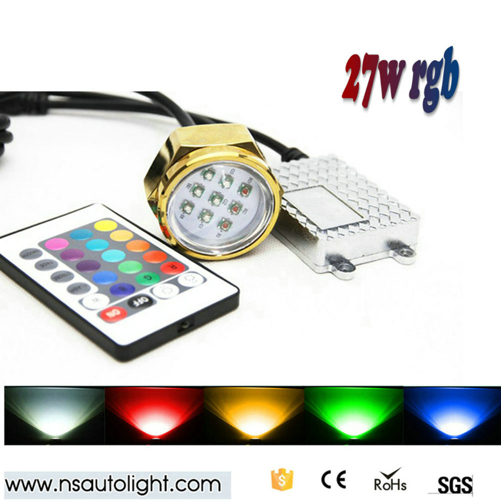 27w remote control RGB led Boat Drain Plug Underwater Light for Diving/fish lamp<br><br>Aliexpress