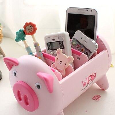 Creative Pink/Black Pig Cute Desk Accessories Stationery Holder Plastic Desk Organizer Office Pen Storage Box<br>