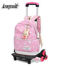 1c7e12b7adc3 AEQUEEN 6 Wheels 2 Wheels Rolling Cart Removable Trolley Kids Schoolbag Luggage  Carts Travel Accessories Traveling Parts