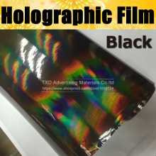 Free shipping Premium Quality Black Chrome Holographic vinyl with air free bubbles holographic sticker Rainbow holographic