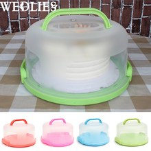 Plastic Round Cake Box Carrier Handle Pastry Storage Holder Dessert Container Cover Case Birthday Wedding Party Cake Accessories(China)