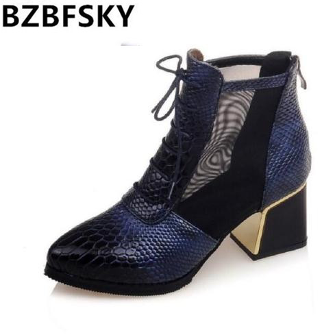 Fashion Snake Print  Patent Leather Boots Pointed Toe Breathable Mesh Ankle Boots Blue Wine Red Woman Side Zip Thick Heel Shoes<br>