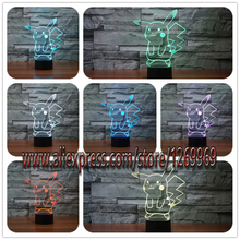 Hot Pokemon Go Action Figure 3D Atmosphere Illusion Night Light Pikachu Bedroom Kids Gift Creative 3D illusion Lamp Free Shippng