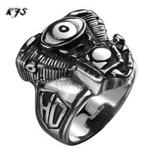 2016 New Hot Men's boys Motorcycle Punk Ring Engine Rumble 316L Stainless Steel Biker Racer Rider Mechanic Ring