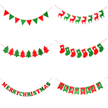 DIY Merry Christmas Banners Non-woven Fabric Xmas Flags Santa Clause Floral Bunting Decoration Home Shop Market Room Decor 2017