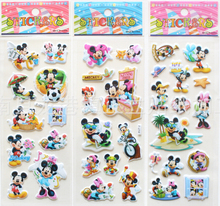 wholesale 200 sheets/lot Cartoon Mickey Minnie 3D PVC sponge adhesive stickers 17*7cm kids gift/paper games toy room decoration
