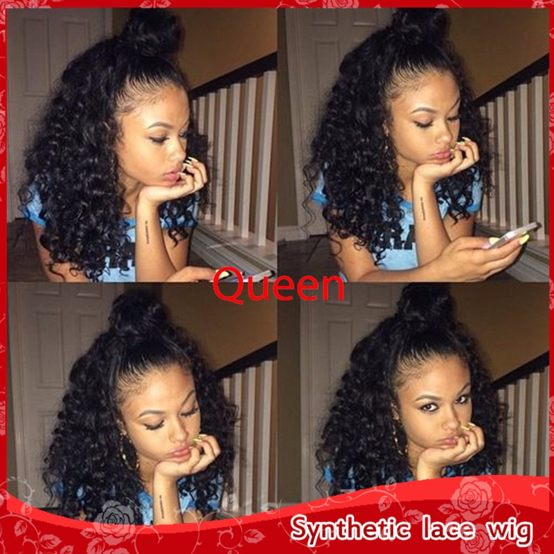 Best Quality Cheap Synthetic Afro Short Kinky Curly Lace Front Wigs Heat Resistant 150% Density Top Fiber Wigs For Black Women<br><br>Aliexpress