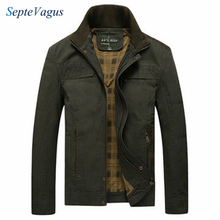 Spring Winter jacket Mens Cotton Plus Size Casual Stand Collar Army Green Khaki Jacket Autumn Solid Color Coat;chaqueta militar
