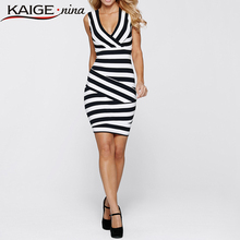 KaigeNina New Summer dress  Women's elegant new summer  striped tunic wear to work well,cocktail party pencil sheath dress 2280