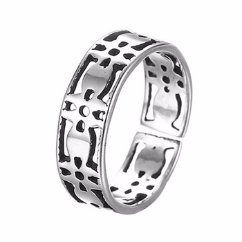 Kinitial 1Pcs Silver 925 Retro Rings for Women Hollow Cross Ring Fine Jewelry Summer Style Party Accessories Birthday Gift